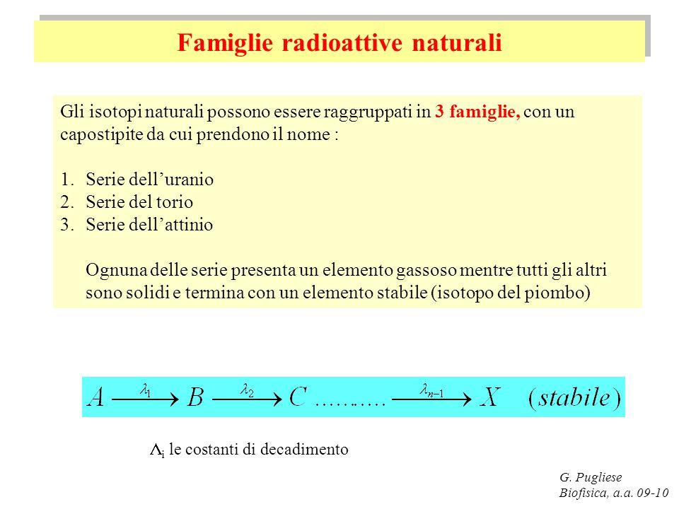 Famiglie radioattive naturali G. Pugliese Biofisica, a.a. 09-10 Gli isotopi naturali possono essere raggruppati in 3 famiglie, con un capostipite da c