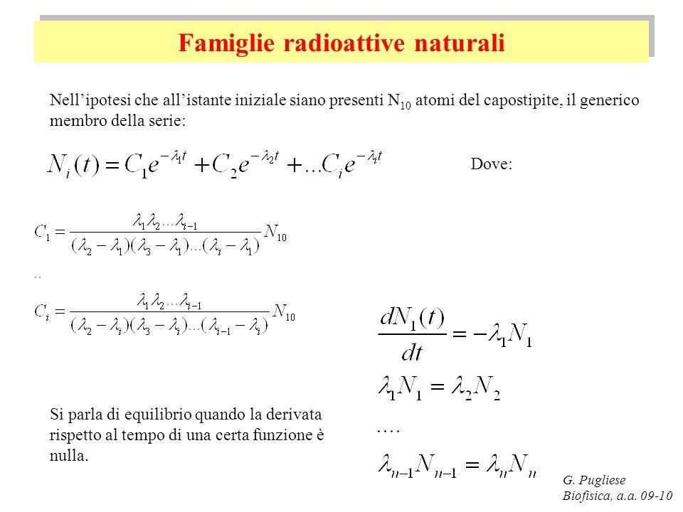 Famiglie radioattive naturali G. Pugliese Biofisica, a.a. 09-10 Nellipotesi che allistante iniziale siano presenti N 10 atomi del capostipite, il gene