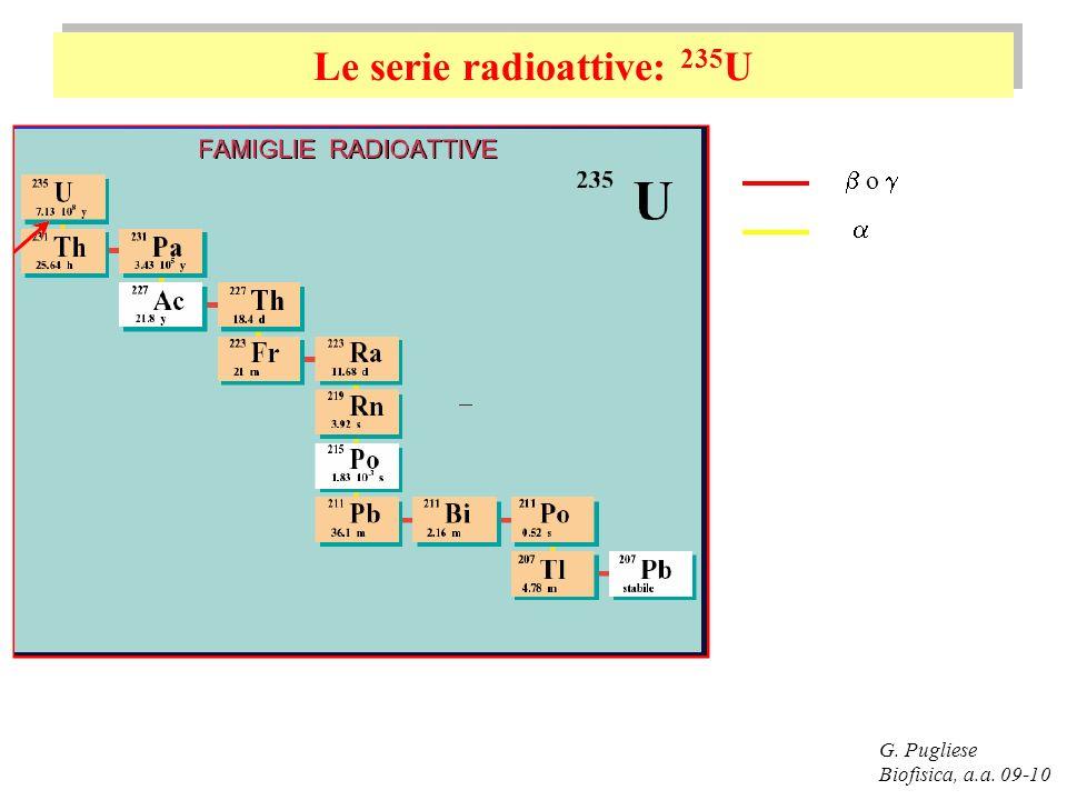 Le serie radioattive: 235 U G. Pugliese Biofisica, a.a. 09-10 o