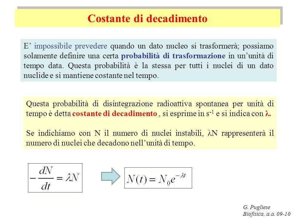 Costante di decadimento G. Pugliese Biofisica, a.a. 09-10 Questa probabilità di disintegrazione radioattiva spontanea per unità di tempo è detta costa