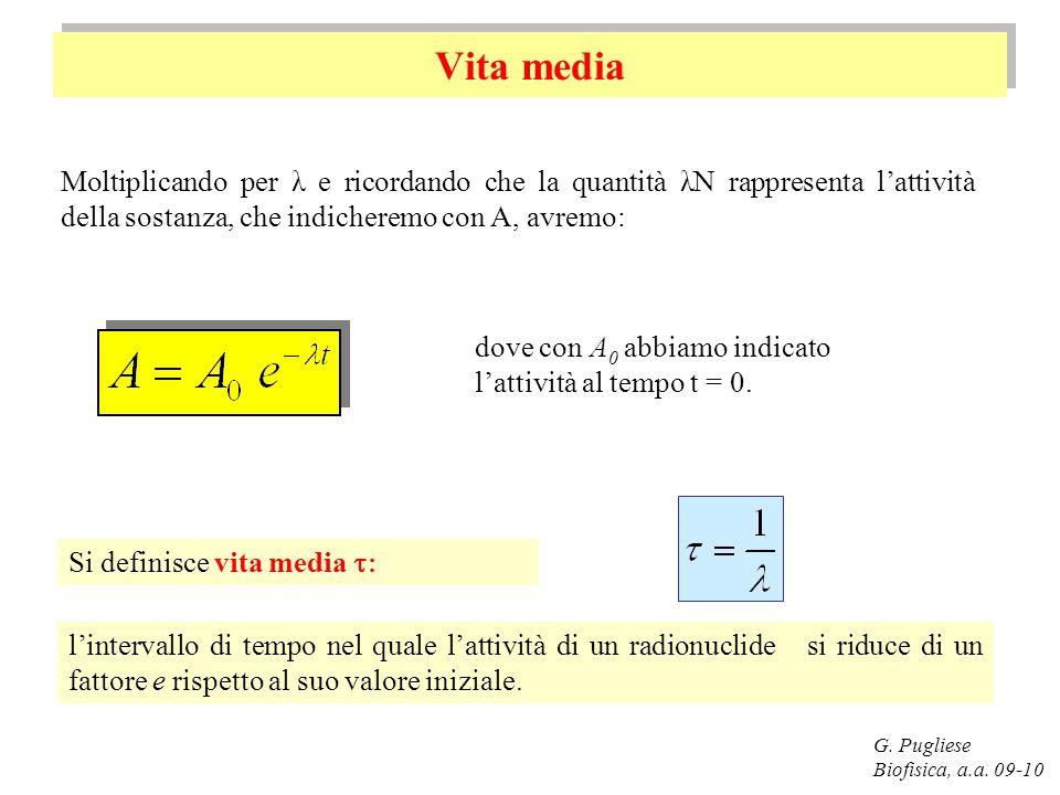 Vita media G. Pugliese Biofisica, a.a. 09-10 Moltiplicando per λ e ricordando che la quantità λN rappresenta lattività della sostanza, che indicheremo