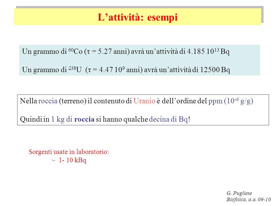 Lattività: esempi G. Pugliese Biofisica, a.a. 09-10 Un grammo di 60 Co (τ = 5.27 anni) avrà unattività di 4.185 10 13 Bq Un grammo di 238 U (τ = 4.47