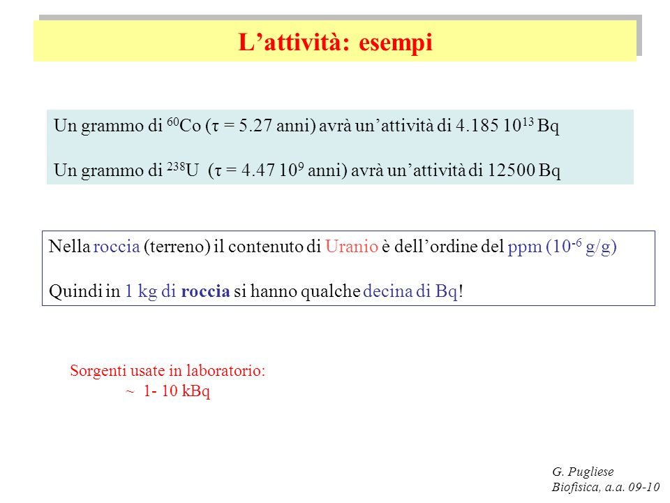Il decadimento alfa G.Pugliese Biofisica, a.a.