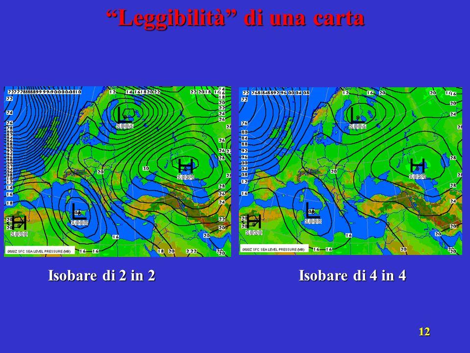 11 1° step: stabilire le isobare da tracciare Di due in due (1012, 1014, 1016, ecc.) .