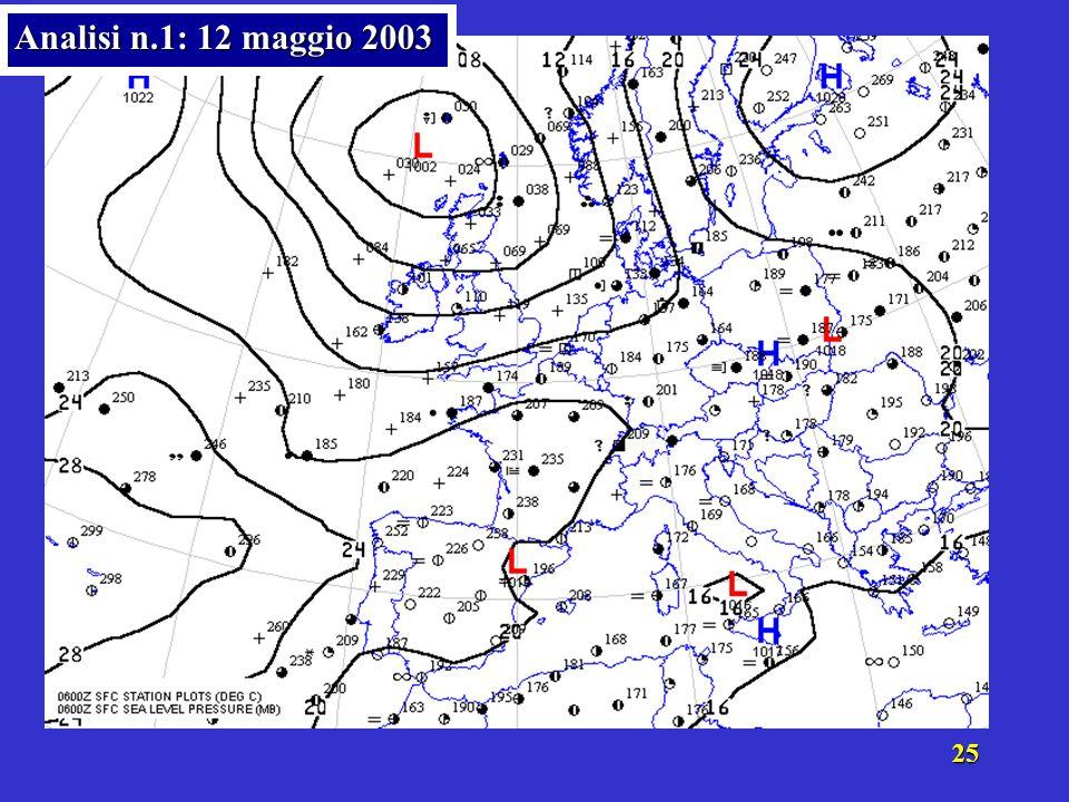 24 Commentiamo le carte danalisi del campo barico (localizzazione delle aree di alta e bassa pressione, fronti, gradiente barico: intensità e direzion