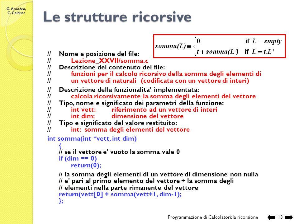 G. Amodeo, C. Gaibisso Le strutture ricorsive Programmazione di Calcolatori: la ricorsione12 Qual è la somma degli elementi di L L N (liste di natural