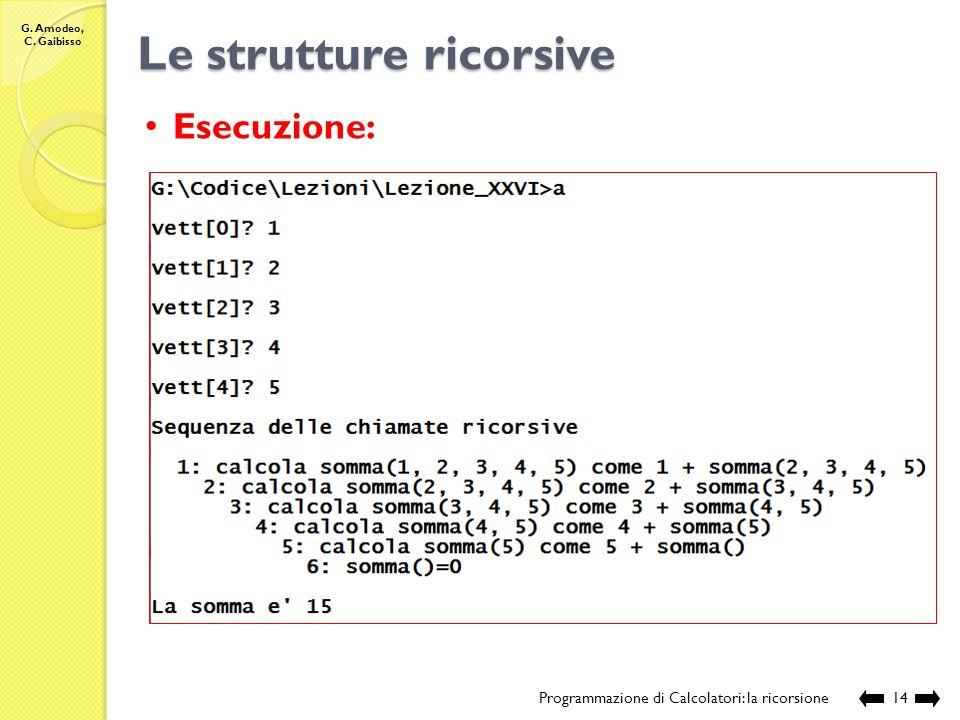 G. Amodeo, C. Gaibisso Le strutture ricorsive Programmazione di Calcolatori: la ricorsione13 //Nome e posizione del file: //Lezione_XXVII/somma.c // D