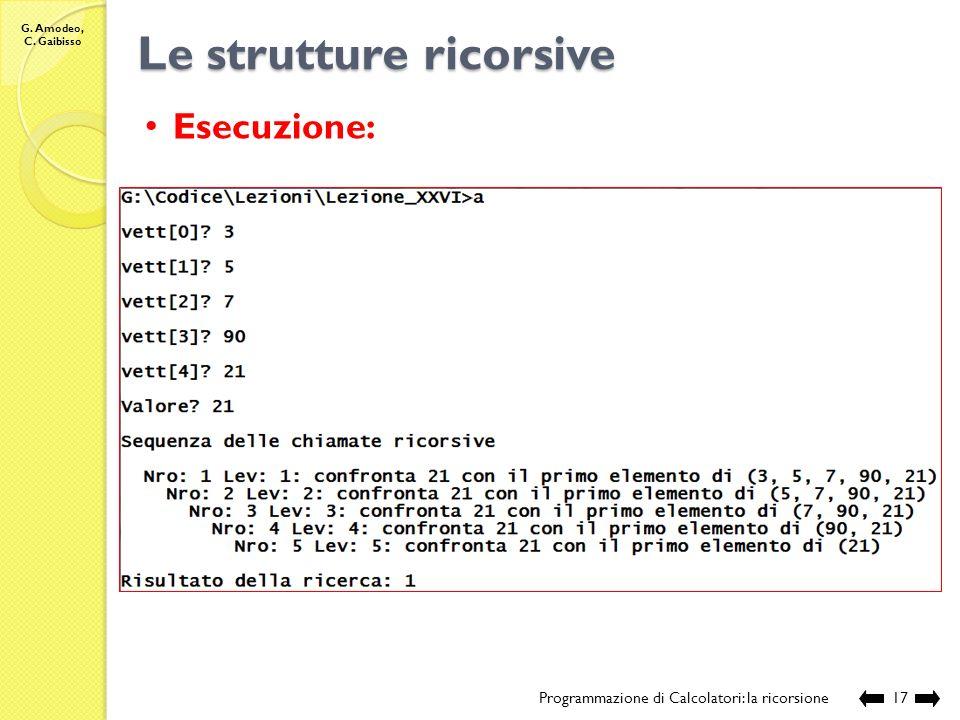 G. Amodeo, C. Gaibisso Le strutture ricorsive Programmazione di Calcolatori: la ricorsione16 //Nome e posizione del file: //Lezione_XXVII/cerca.c //De