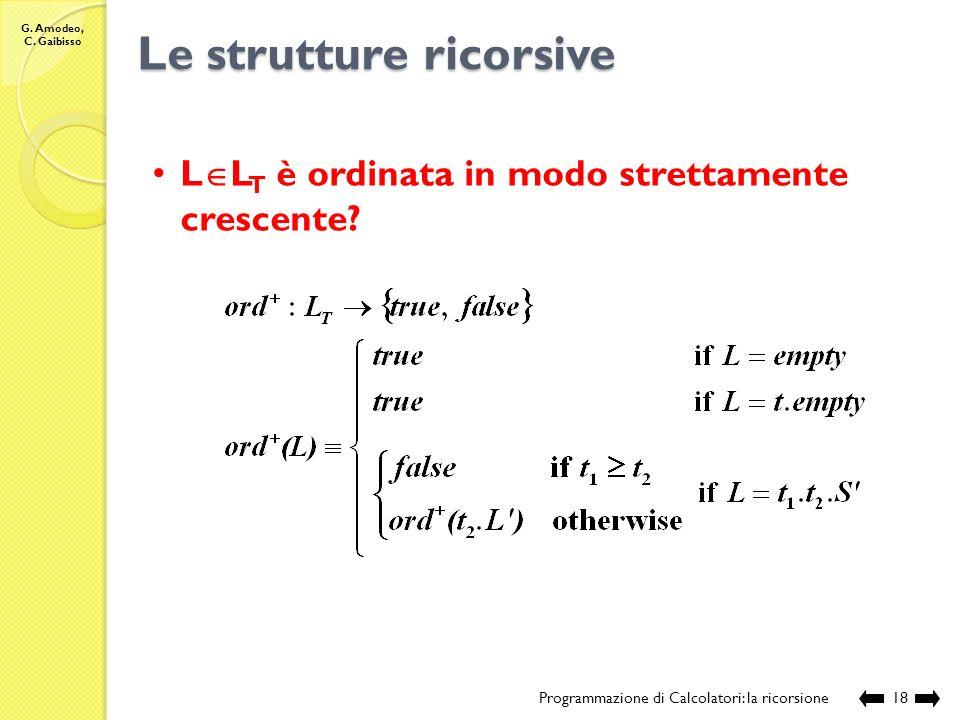 G. Amodeo, C. Gaibisso Le strutture ricorsive Programmazione di Calcolatori: la ricorsione17 Esecuzione: