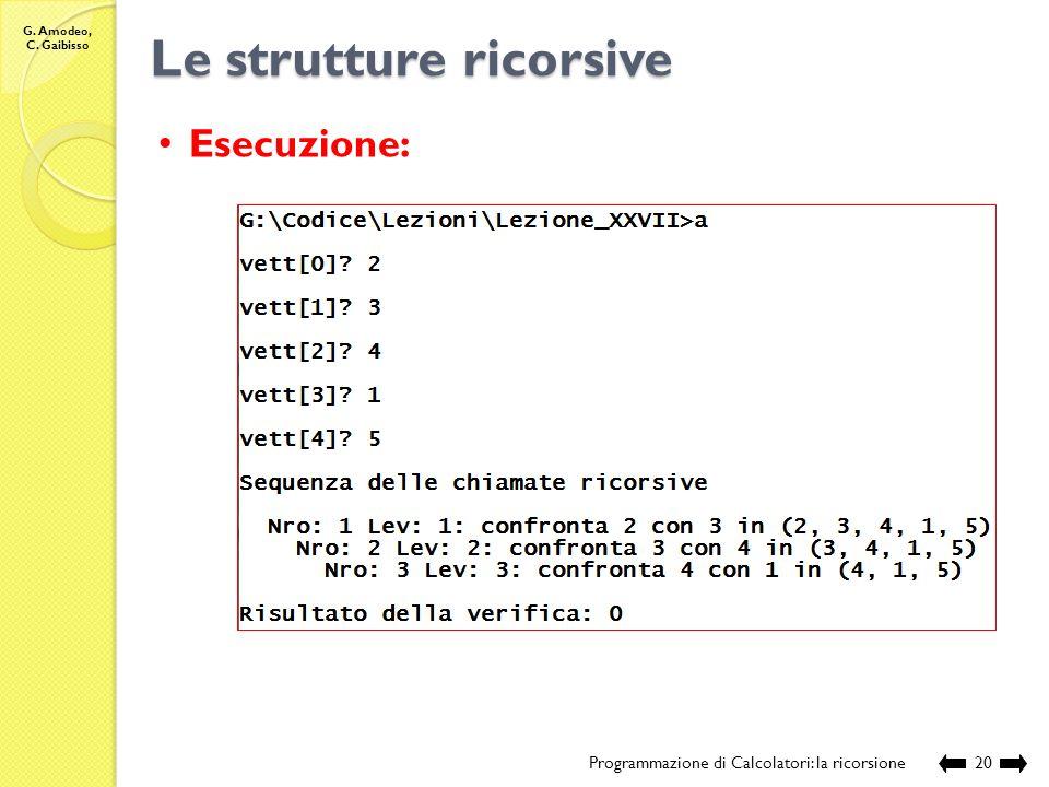 G. Amodeo, C. Gaibisso Le strutture ricorsive Programmazione di Calcolatori: la ricorsione19 //Nome e posizione del file: //Lezione_XXVII/ordinata.c /