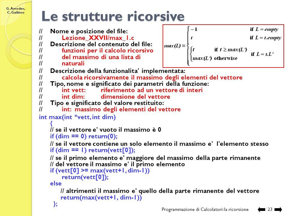 G. Amodeo, C. Gaibisso Le strutture ricorsive Programmazione di Calcolatori: la ricorsione22 Qual è il massimo di L L N ?