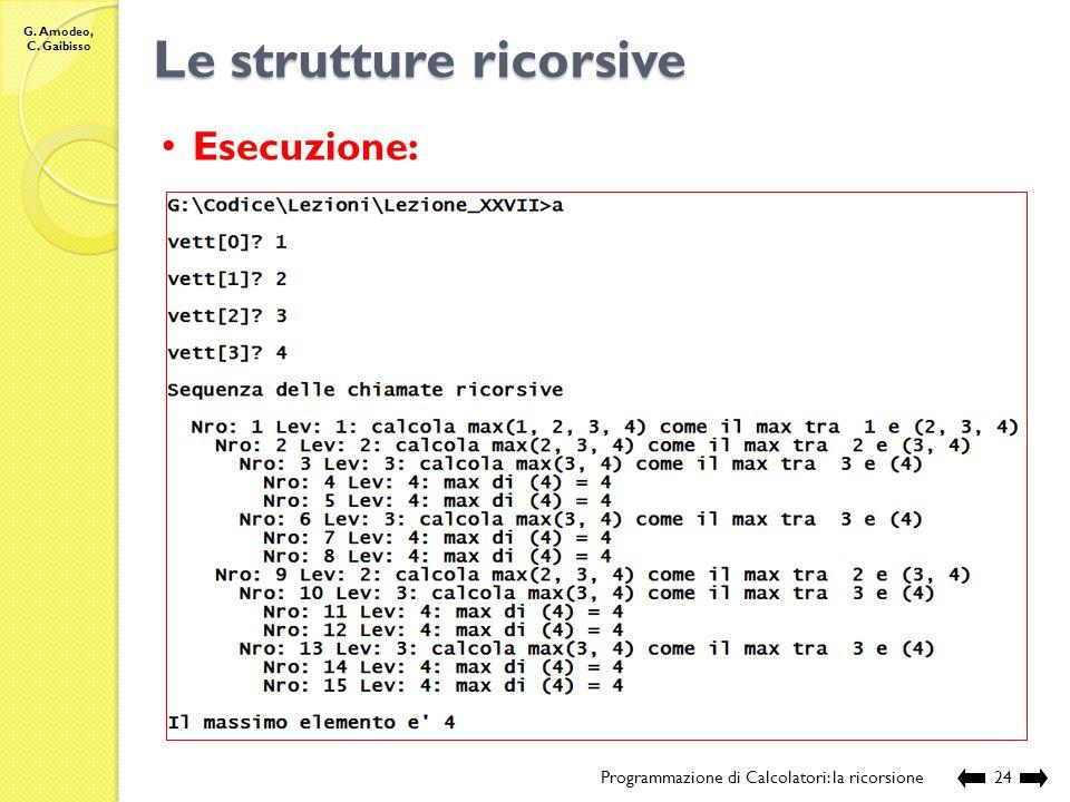 G. Amodeo, C. Gaibisso Le strutture ricorsive Programmazione di Calcolatori: la ricorsione23 //Nome e posizione del file: //Lezione_XXVII/max_1.c //De
