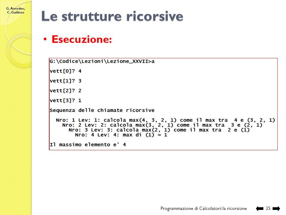 G. Amodeo, C. Gaibisso Le strutture ricorsive Programmazione di Calcolatori: la ricorsione24 Esecuzione: