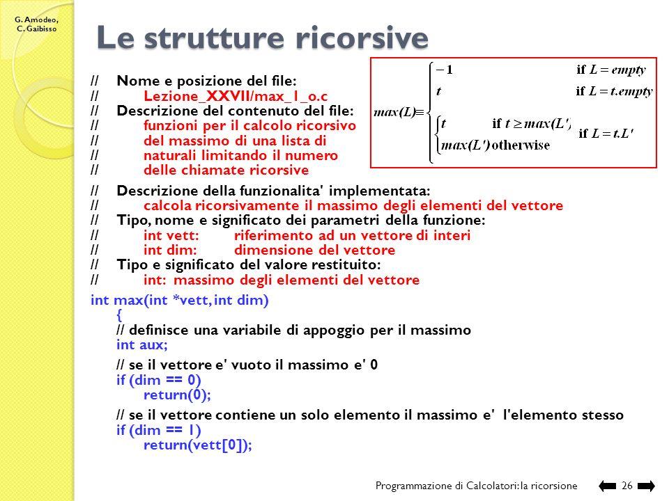 G. Amodeo, C. Gaibisso Le strutture ricorsive Programmazione di Calcolatori: la ricorsione25 Esecuzione: