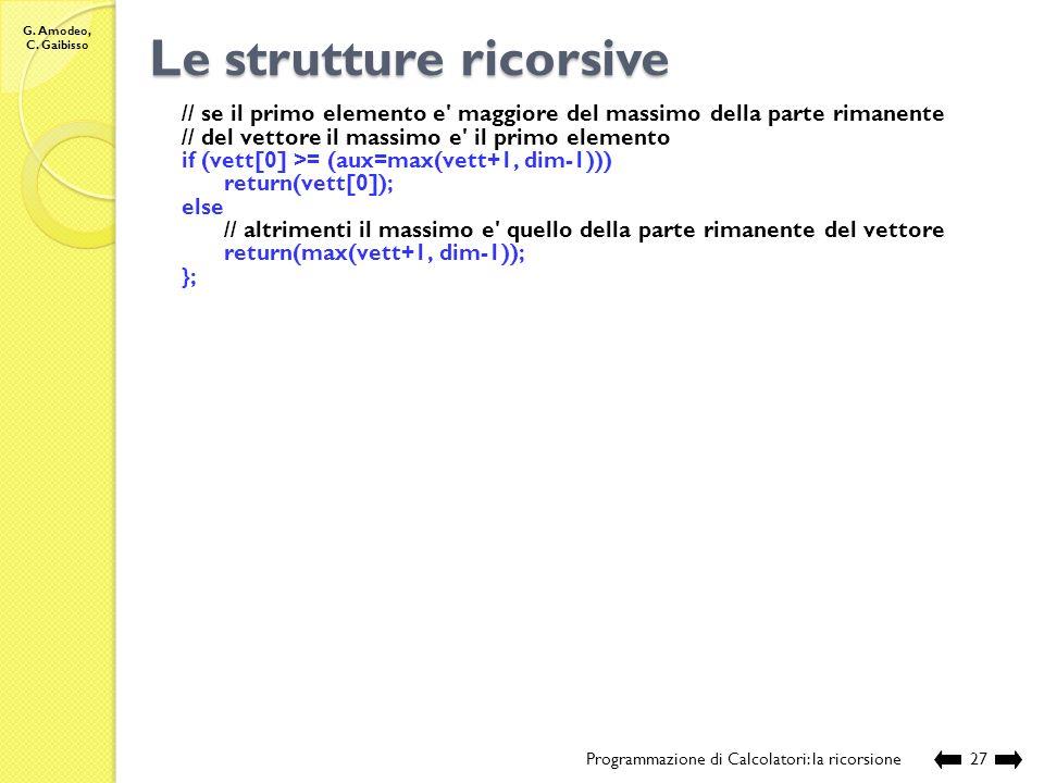 G. Amodeo, C. Gaibisso Le strutture ricorsive Programmazione di Calcolatori: la ricorsione26 //Nome e posizione del file: //Lezione_XXVII/max_1_o.c //
