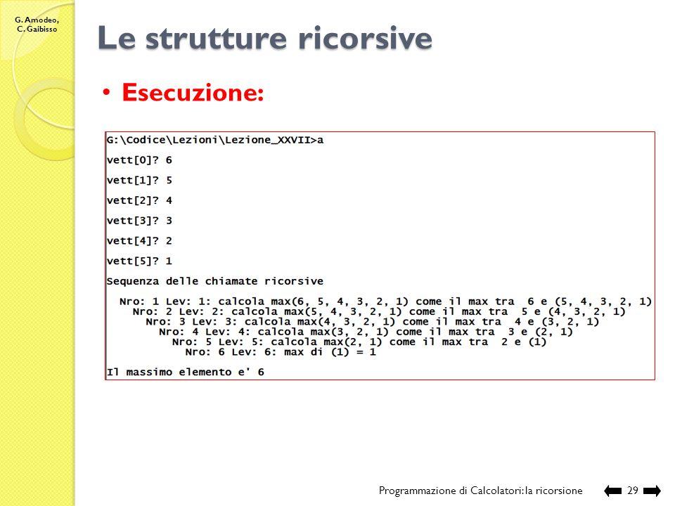 G. Amodeo, C. Gaibisso Le strutture ricorsive Programmazione di Calcolatori: la ricorsione28 Esecuzione: