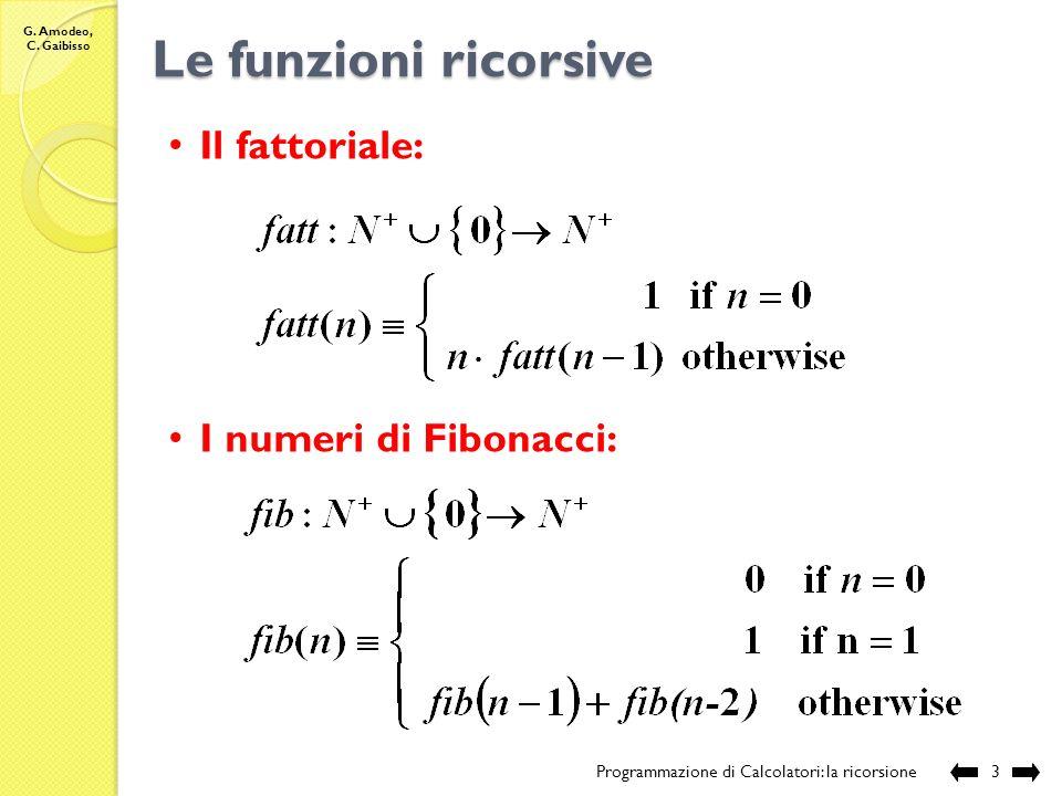 G. Amodeo, C. Gaibisso La ricorsione Programmazione di Calcolatori: la ricorsione2 Definizione ricorsiva: definizione di un oggetto (un insieme, una s