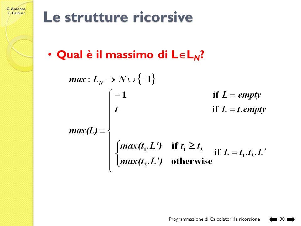 G. Amodeo, C. Gaibisso Le strutture ricorsive Programmazione di Calcolatori: la ricorsione29 Esecuzione: