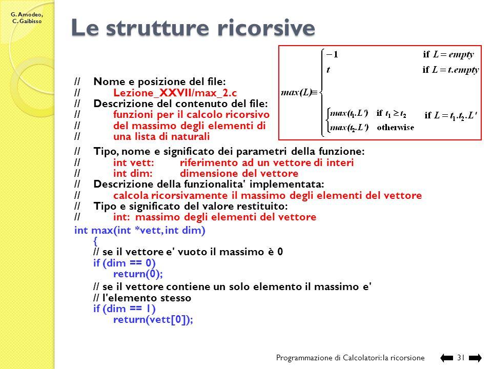 G. Amodeo, C. Gaibisso Le strutture ricorsive Programmazione di Calcolatori: la ricorsione30 Qual è il massimo di L L N ?