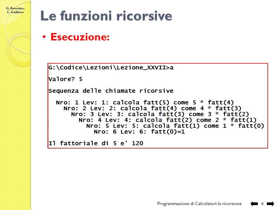 G. Amodeo, C. Gaibisso Le funzioni ricorsive Programmazione di Calcolatori: la ricorsione5 //Nome e posizione del file: //Lezione_XXVII/fatt.c //Descr