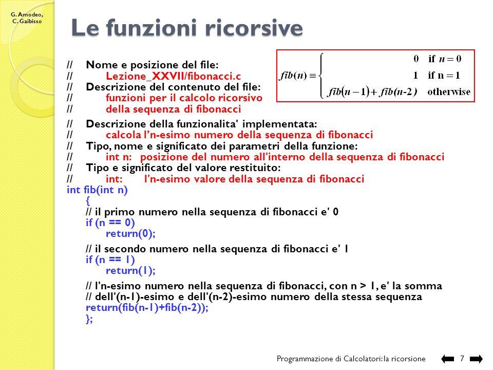 G. Amodeo, C. Gaibisso Le funzioni ricorsive Programmazione di Calcolatori: la ricorsione6 Esecuzione: