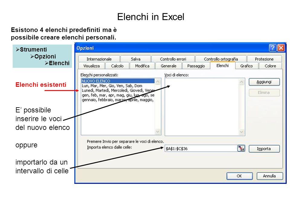 Elenchi in Excel Strumenti Opzioni Elenchi Elenchi esistenti E possibile inserire le voci del nuovo elenco oppure importarlo da un intervallo di celle