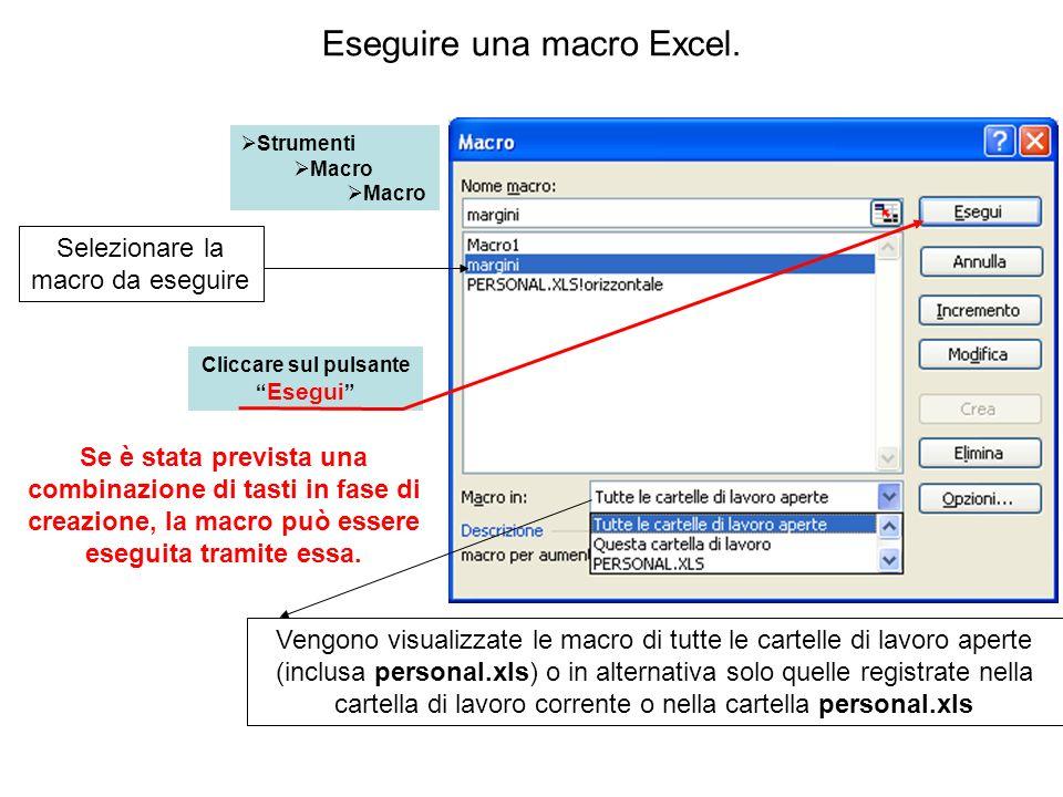 Eseguire una macro Excel. Strumenti Macro Selezionare la macro da eseguire Cliccare sul pulsante Esegui Se è stata prevista una combinazione di tasti