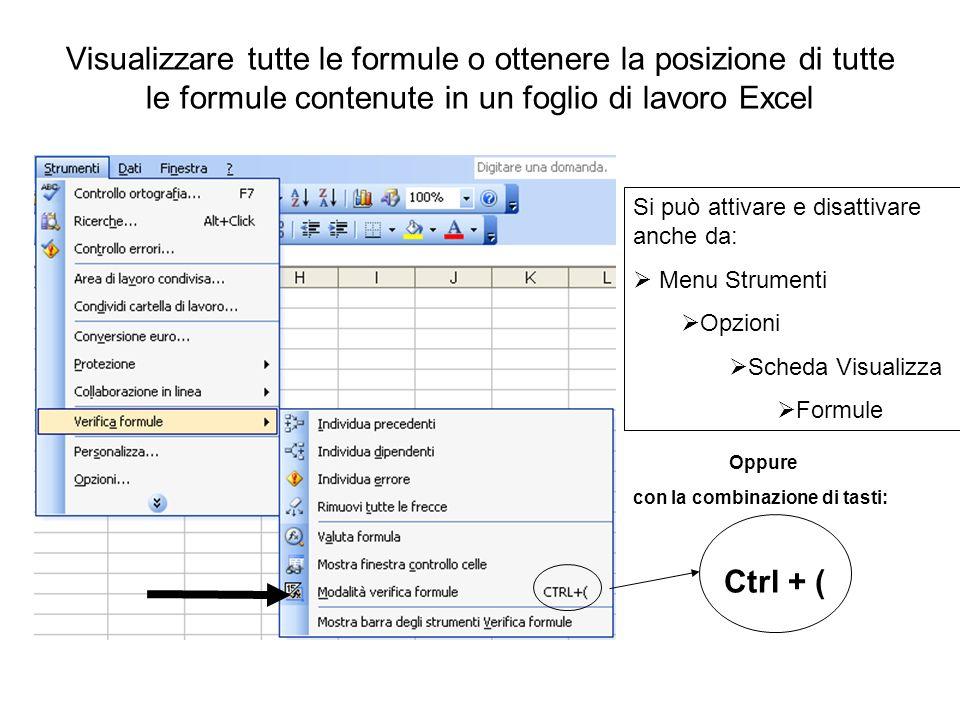 Visualizzare tutte le formule o ottenere la posizione di tutte le formule contenute in un foglio di lavoro Excel Ctrl + ( Si può attivare e disattivar