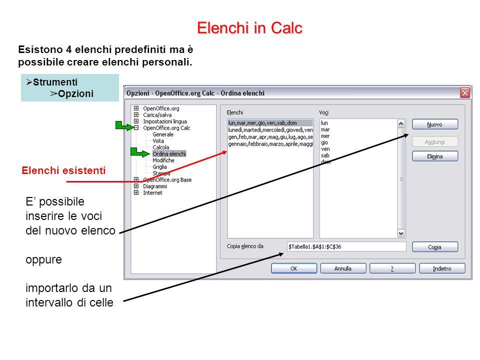 Elenchi in Calc Strumenti Opzioni Elenchi esistenti E possibile inserire le voci del nuovo elenco oppure importarlo da un intervallo di celle Esistono