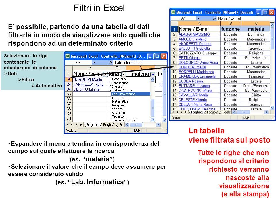 Filtri in Excel Selezionare la riga contenente le intestazioni di colonna Dati Filtro Automatico Espandere il menu a tendina in corrispondenza del cam