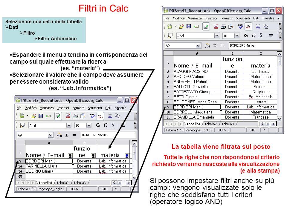 Filtri in Calc Tutte le righe che non rispondono al criterio richiesto verranno nascoste alla visualizzazione (e alla stampa) La tabella viene filtrat