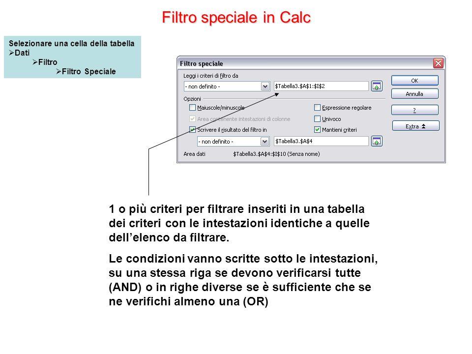 Filtro speciale in Calc 1 o più criteri per filtrare inseriti in una tabella dei criteri con le intestazioni identiche a quelle dellelenco da filtrare