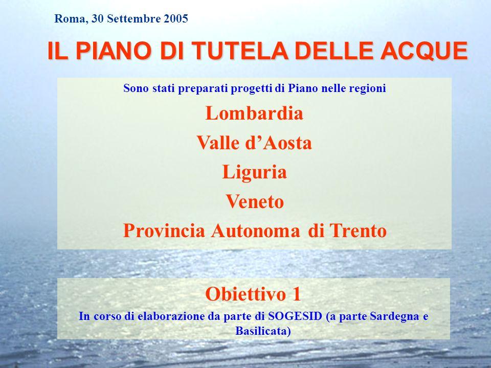 Roma, 30 Settembre 2005 IL PIANO DI TUTELA DELLE ACQUE Sono stati preparati progetti di Piano nelle regioni Lombardia Valle dAosta Liguria Veneto Prov