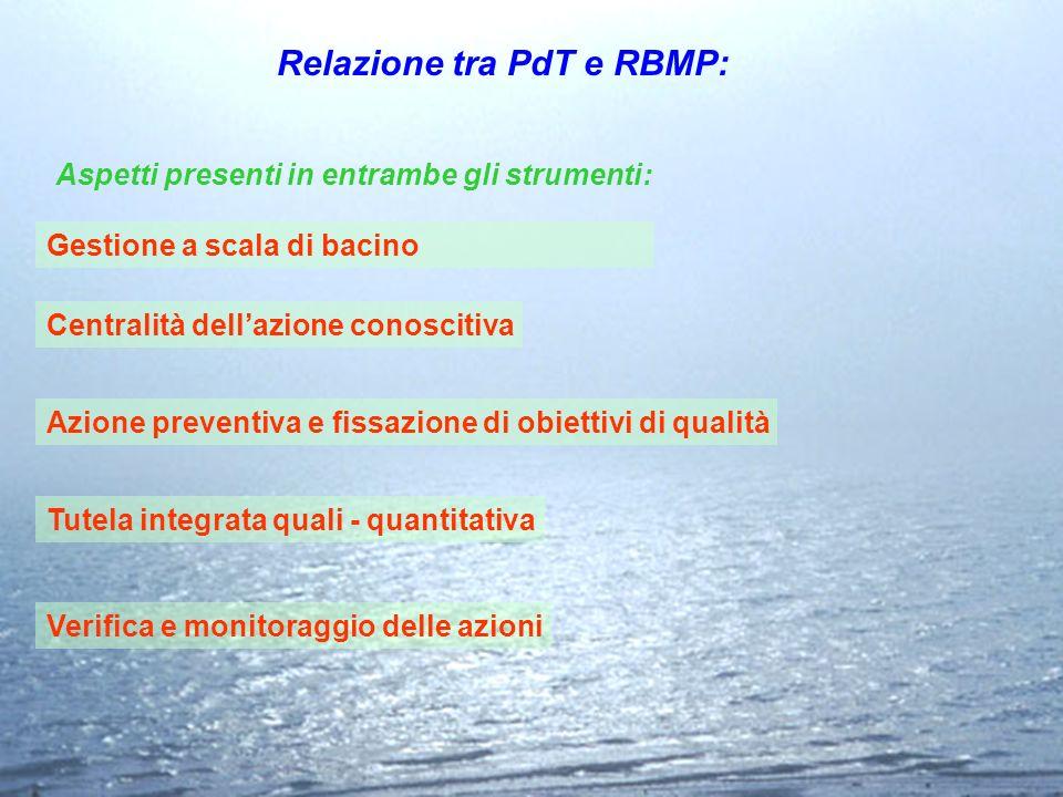 Aspetti presenti in entrambe gli strumenti: Verifica e monitoraggio delle azioni Relazione tra PdT e RBMP: Gestione a scala di bacino Centralità della