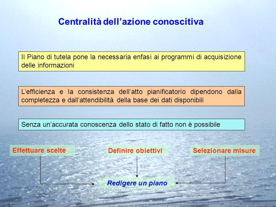 Centralità dellazione conoscitiva Il Piano di tutela pone la necessaria enfasi ai programmi di acquisizione delle informazioni Lefficienza e la consis
