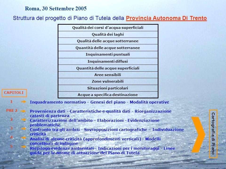 Roma, 30 Settembre 2005 Acque a specifica destinazione Situazioni particolari Zone vulnerabili Aree sensibili Quantità delle acque superficiali Inquin