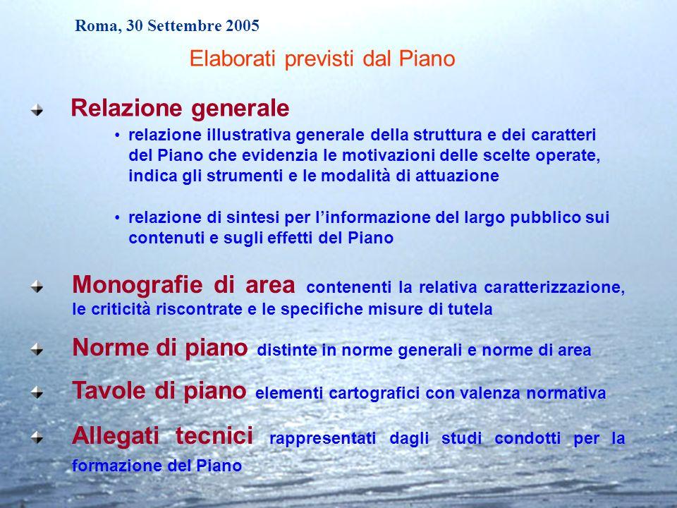 Roma, 30 Settembre 2005 Monografie di area contenenti la relativa caratterizzazione, le criticità riscontrate e le specifiche misure di tutela Norme d