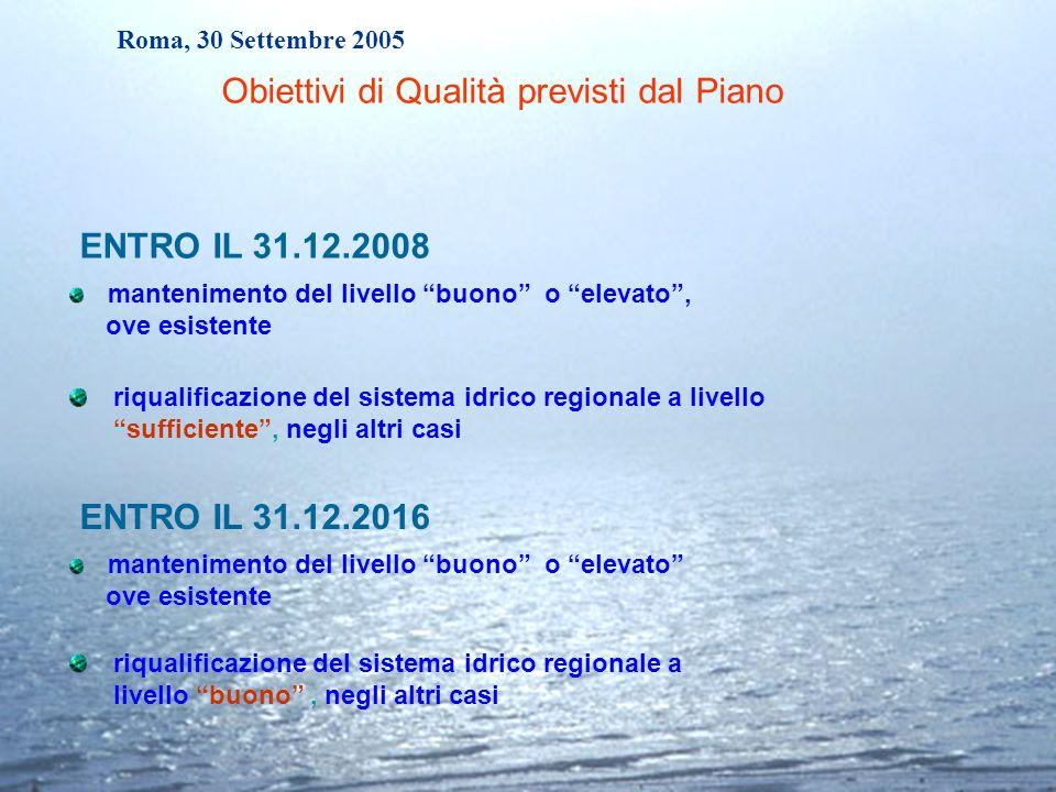 Roma, 30 Settembre 2005 ENTRO IL 31.12.2008 riqualificazione del sistema idrico regionale a livello sufficiente, negli altri casi ENTRO IL 31.12.2016