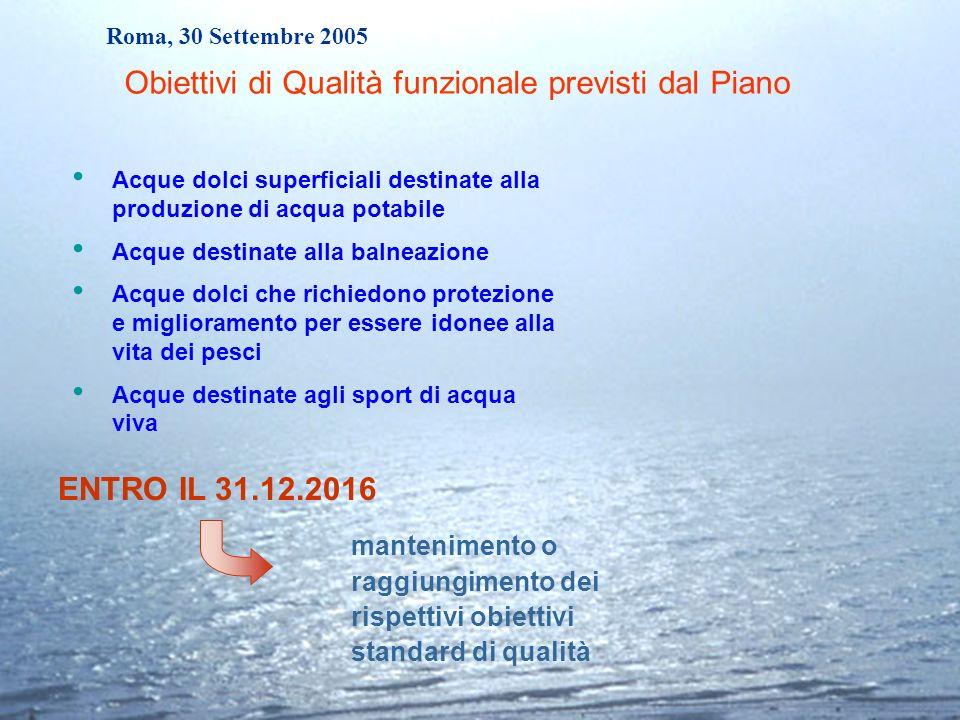 Roma, 30 Settembre 2005 Acque dolci superficiali destinate alla produzione di acqua potabile Acque destinate alla balneazione Acque dolci che richiedo