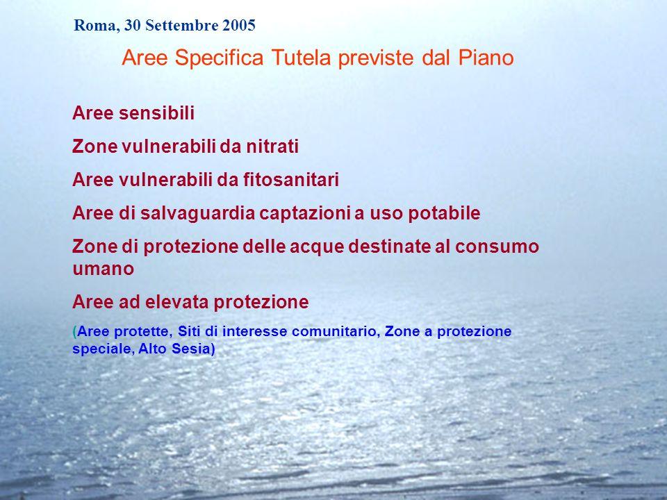 Roma, 30 Settembre 2005 Aree sensibili Zone vulnerabili da nitrati Aree vulnerabili da fitosanitari Aree di salvaguardia captazioni a uso potabile Zon