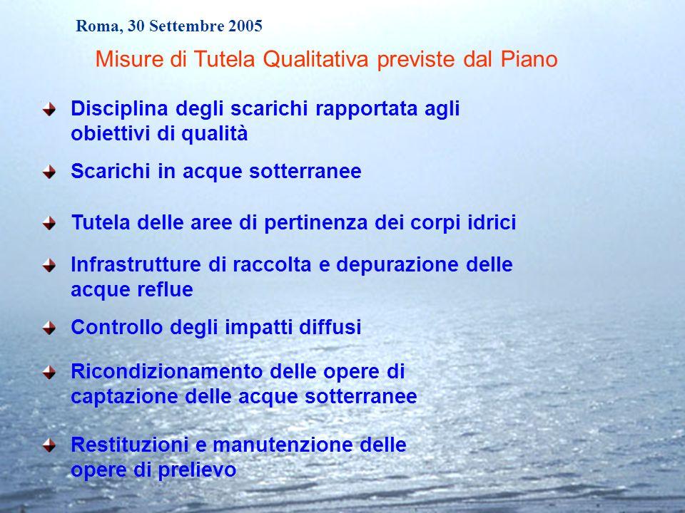 Roma, 30 Settembre 2005 Disciplina degli scarichi rapportata agli obiettivi di qualità Infrastrutture di raccolta e depurazione delle acque reflue Ric
