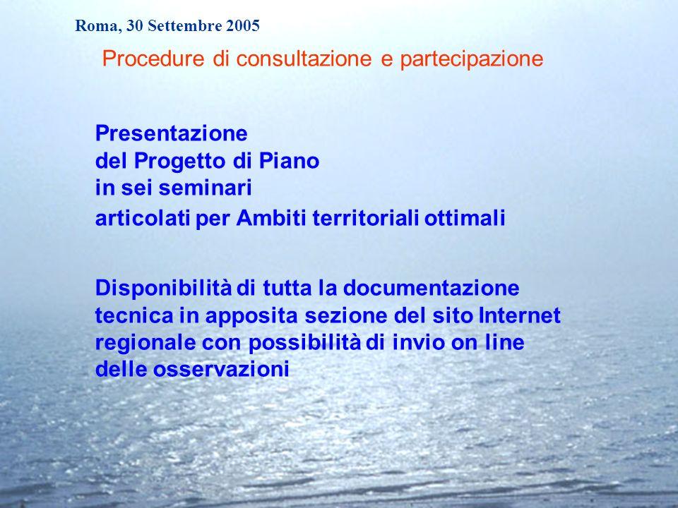Roma, 30 Settembre 2005 articolati per Ambiti territoriali ottimali Presentazione del Progetto di Piano in sei seminari Disponibilità di tutta la docu