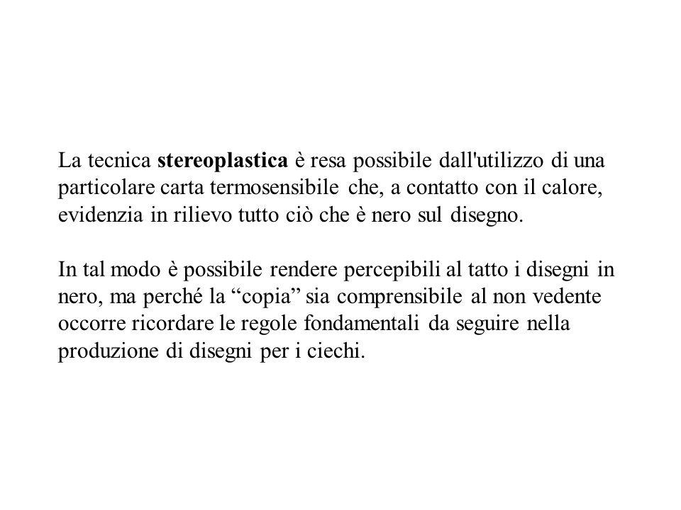 La tecnica stereoplastica è resa possibile dall'utilizzo di una particolare carta termosensibile che, a contatto con il calore, evidenzia in rilievo t