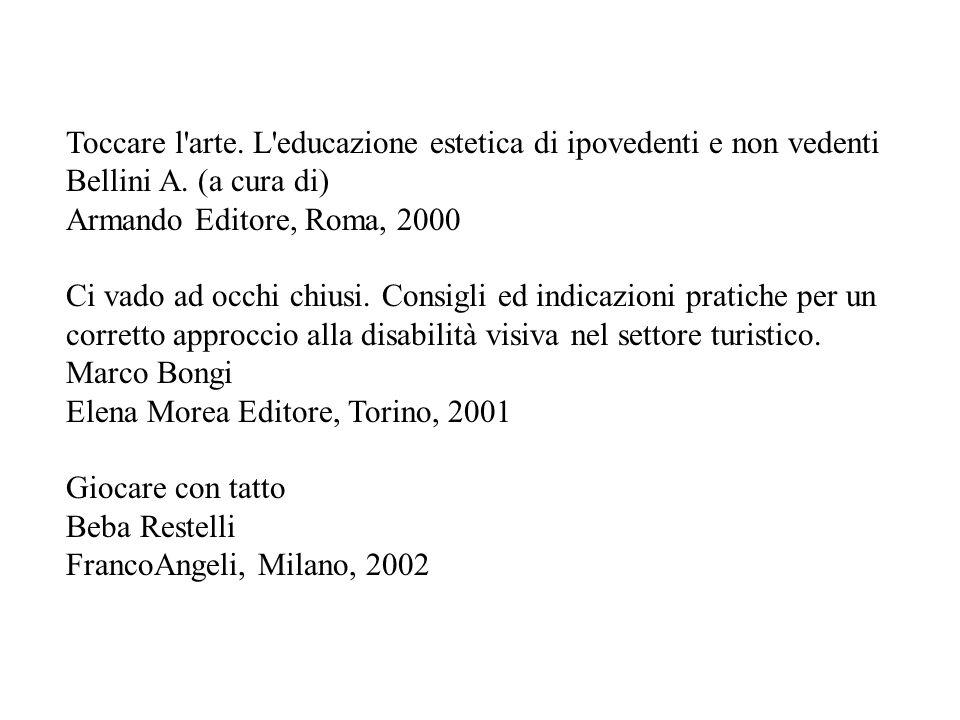 Toccare l'arte. L'educazione estetica di ipovedenti e non vedenti Bellini A. (a cura di) Armando Editore, Roma, 2000 Ci vado ad occhi chiusi. Consigli