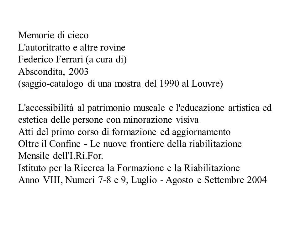 Memorie di cieco L'autoritratto e altre rovine Federico Ferrari (a cura di) Abscondita, 2003 (saggio-catalogo di una mostra del 1990 al Louvre) L'acce