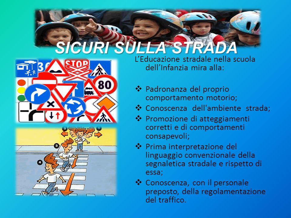 SICURI SULLA STRADA LEducazione stradale nella scuola dellInfanzia mira alla: Padronanza del proprio comportamento motorio; Conoscenza dell'ambiente s