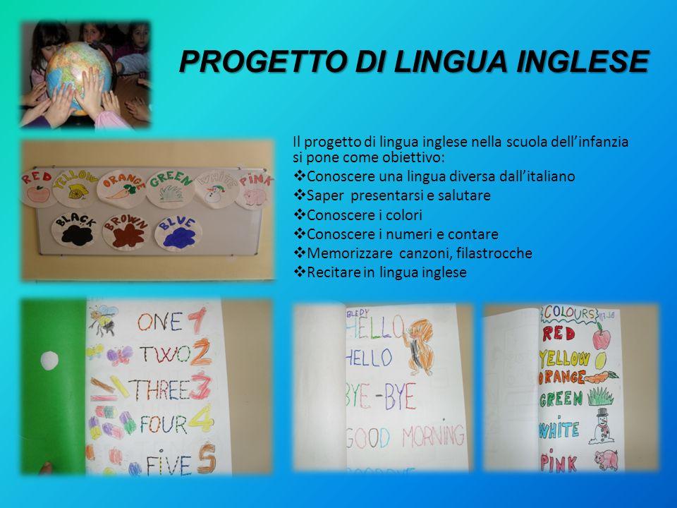 PROGETTO DI LINGUA INGLESE Il progetto di lingua inglese nella scuola dellinfanzia si pone come obiettivo: Conoscere una lingua diversa dallitaliano S