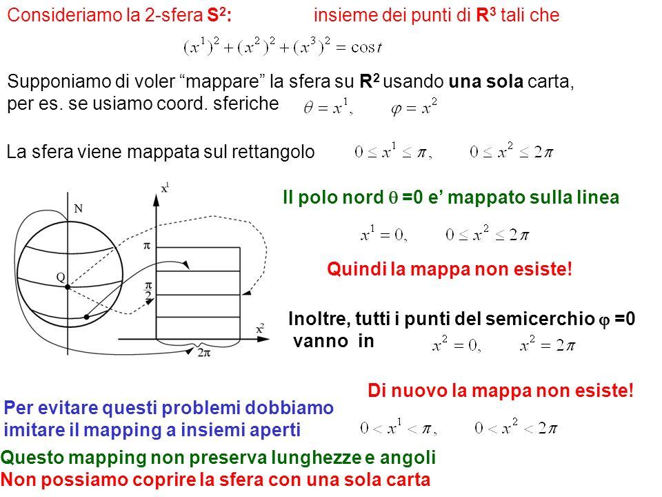Consideriamo la 2-sfera S 2 : insieme dei punti di R 3 tali che Supponiamo di voler mappare la sfera su R 2 usando una sola carta, per es. se usiamo c