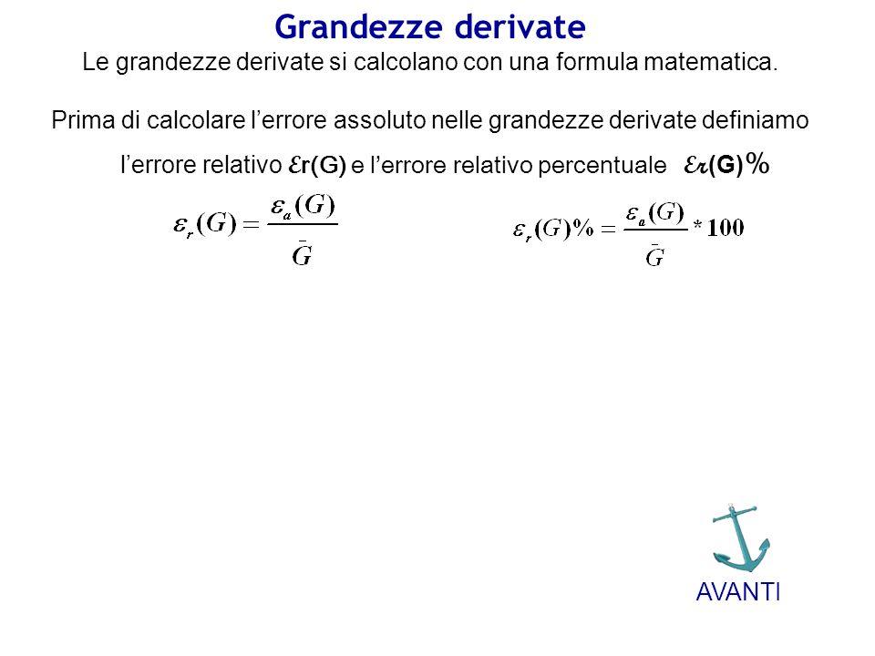 Grandezze derivate Le grandezze derivate si calcolano con una formula matematica. Prima di calcolare lerrore assoluto nelle grandezze derivate definia