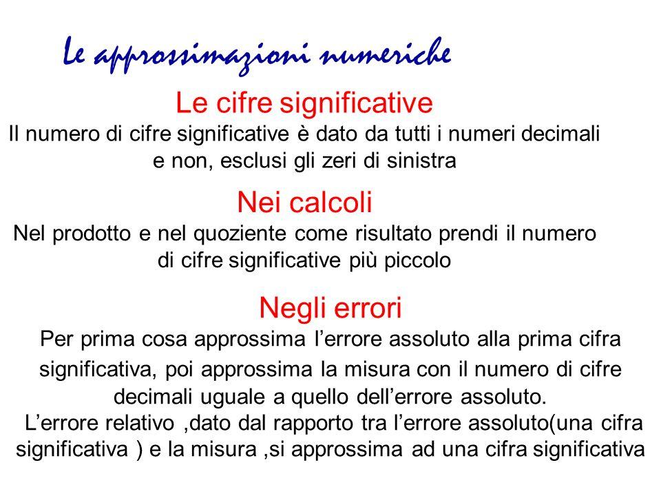Le cifre significative Il numero di cifre significative è dato da tutti i numeri decimali e non, esclusi gli zeri di sinistra Le approssimazioni numer